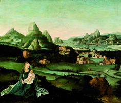 ESCUELA FLAMENCA S. XVI,Paisaje con Virgen con Niño, Óleo  sobre tabla, 34 x 40,5 cm.