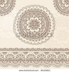 stock vector : Hand-Drawn Henna Mehndi Tattoo Flower Mandala and Paisley Border Doodle Vector Illustration Design Elements