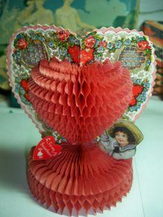 Vintage Beistle Honeycomb Valentines Card