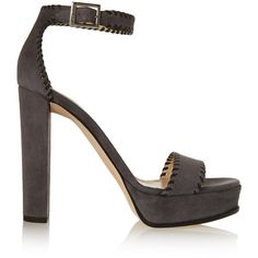 Jimmy Choo Holly whipstitched suede platform sandals ($395) ❤ liked on Polyvore featuring shoes, sandals, grey, high heel shoes, suede shoes, grey shoes, high heeled footwear and suede sandals