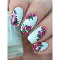 43 Pretty Floral Nail Design and Ideas for Spring ❤ liked on Polyvore featuring beauty products and nail care