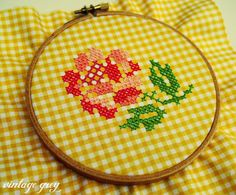 cross stitching on gingham linen! Cross Stitching, Cross Stitch Embroidery, Embroidery Patterns, Hand Embroidery, Cross Stitch Patterns, Cute Cross Stitch, Cross Stitch Rose, Cross Stitch Flowers, Chicken Scratch Patterns