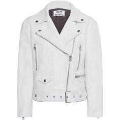 ACNE STUDIOS Merlyn Memory White // Leather biker jacket (34,425 MXN) ❤ liked on Polyvore featuring outerwear, jackets, coats & jackets, leather jacket, leather belt, biker jackets, motorcycle jacket, oversized leather jacket and asymmetrical zip jacket