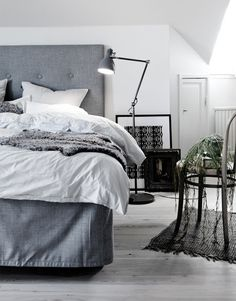 Gray bed- I love gray, very soothing