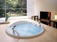 Nowadays, people like to have spa-like bathroom. You can make this dream come true by installing Jacuzzi Tub in your bathroom. Whirlpool Jacuzzi, Jacuzzi Bathtub, Diy Bathtub, Soaking Bathtubs, Spa Bathroom Design, Spa Like Bathroom, Bathroom Ideas, Bathroom Tubs, Modern Bathroom Design