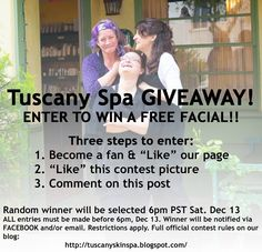 Our first Tuscany Spa Facial Giveaway thru Facebook. We love our facials and know you will too.