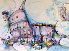 """Dalla Mostra personale di Alba Tortorici dedicata alla città di Roma : """"Il futuro del Colosseo?"""""""