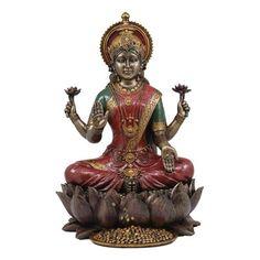 World Menagerie Tristram Beautiful Large Hindu Goddess Lakshmi Seated on Lotus Flower Figurine Athena Greek Goddess, Isis Goddess, Triple Goddess, Egyptian Goddess, Goddess Lakshmi, Flame Art, Female Dancers, Balloon Dog, Metal Birds