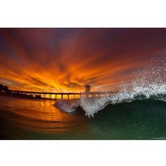 A stunning sunrise from  Huntington Beach, California USA