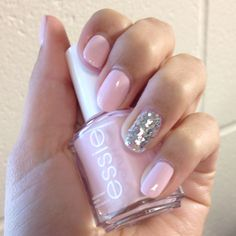 """I own this nail polish and I love it! It's """"Essie"""" nail polish that's called, """"Fiji"""". I love how it's a super light pink colour."""