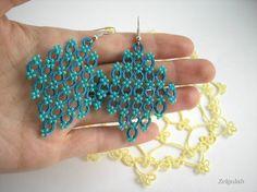 Earrings Teal Green tatted lace Rhombs Size 2 Jade por Zelgulab