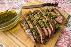 Chimichurri spread over the perfectly cooked meat. #contest