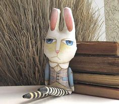 Stuffed and Painted Art Doll - The White Rabbit from Alice in Wonderland