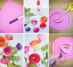 DIY rosas de papel - DIY So Simple & Crafty Paper Flowers ~ cute Kids Crafts, Crafts To Do, Creative Crafts, Craft Projects, Arts And Crafts, Craft Ideas, Handmade Flowers, Diy Flowers, Fabric Flowers