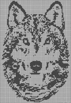 Wolf - This is a pattern for Perler beads, but I think it could be converted to Cross Stitch :) Double Knitting Patterns, Modern Cross Stitch Patterns, Cross Patterns, Bead Loom Patterns, Knitting Charts, Counted Cross Stitch Patterns, Beading Patterns, Crochet Chart, Filet Crochet
