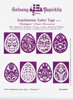 Simplified version of something like this Easter Egg Template, Wood Crafts, Paper Crafts, Art Diy, Scandinavian Folk Art, Vinyl Paper, Paper Folding, Kirigami, Holidays And Events