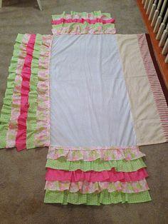 A Little Bolt of Life: DIY Ruffled Crib Skirt because I know I won't find ex. A Little Bolt of Girl Nursery, Girl Room, Nursery Ideas, Diy 2019, Merian, Crib Skirts, Crib Bedding, Bedding Decor, Queen Bedding