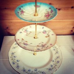 Beautiful three tier vintage cake stand -  wedding - afternoon tea. $34.00, via Etsy.
