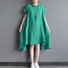 Women summer short sleeve loose pullover cotton linen long shirt