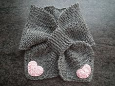 Baby Scarf Knitted Grey Merino Wool With Crochet Hearts 1-3 months Old Baby, Bow Tie. $14.00, via Etsy.