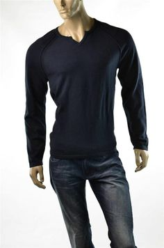Calvin Klein Sweater NWT Mens Split Neck Navy Sweaters Pullover Jumper Sz M New #CalvinKlein #SplitTag