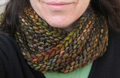 Bulky Mobius Cowl by Haley Waxberg (project photo by eklectika on Ravelry).  Includes link to Mobius Knitting tutorial by Cat Bordhi.  Knit in the round on long circular needles with a special cast on for mobius knitting.  One piece and no seams!