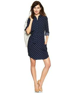 Diamond print shirtdress from the Gap. I bought this and it looks so fabulous with a pair of wedge booties.
