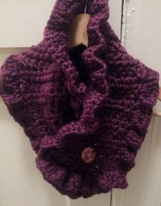 Ready To Ship Crochet Ruffled Neck Warmer Neckwarmer Scarf Purple Pink. $22.00, via Etsy.