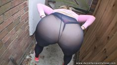 Big ass workout in blue pantyhose over thong.