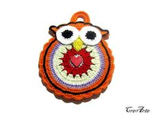 Owl Potholder Colorful Potholder Crochet potholder Presina