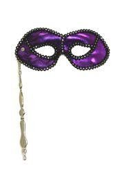 7.5in x 3.5in Purple Lamei Mask With Black And Silver Lace Detail W/Cloth Material Backing On Silver/Gold Stick.