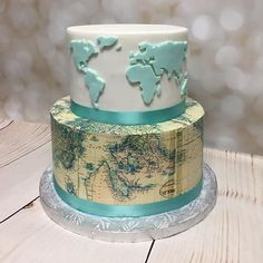 46 Ideas Best Bridal Shower Food Beautiful For 2019 Map Cake, Cake Art, Beautiful Cakes, Amazing Cakes, Travel Cake, Travel Party, Retirement Cakes, Fancy Cakes, Creative Cakes