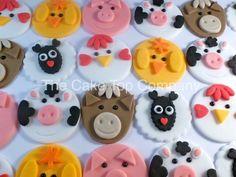 Fondant Farmyard Animal Cupcake Toppers  by TheCakeTopCompany
