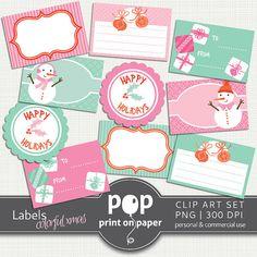 Christmas Labels Digital Clip Art  Colorful by POPprintonpaper