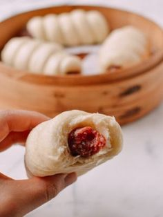 Chinese Sausage Buns (Lop Cheung Bao) are a tasty throwback treat. These buns are made with sweet cured Chinese sausage wrapped in a fluffy steamed mantou Sausage Wrap, Asian Recipes, Chinese Recipes, Chinese Food, Asian Foods, Chinese Desserts, Wok Of Life, Chinese Sausage, Steamed Buns