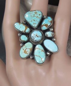 EMMA LINCOLN DRY CREEK TURQUOISE NAVAJO CLUSTER LARGE RING SATIN STERLING SILVER