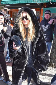Black mink fur hoody