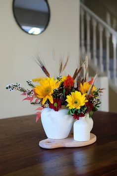 Fall Centerpiece  Create this look with DIY Stone Vases. All you need are some mix matched vases and Accents Stone spray!