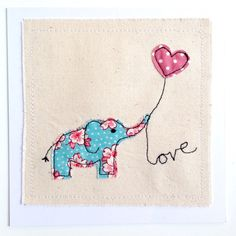 Elephant Love Heart unframed art or greetings card, handmade stitched applique. Personalise. Valentines, wedding, anniversary. Picture gift.
