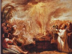 """863 B.C. PROPHETS OF BAAL DEFEATED  Then the fire of the Lord fell and consumed the burnt offering and the wood and the stones and the dust, and licked up the water that was in the trench. And when all the people saw it, they fell on their faces and said, """"The Lord, he is God; the Lord, he is God."""" And Elijah said to them, """"Seize the prophets of Baal; let not one of them escape."""" And they seized them. And Elijah brought them down to the brook Kishon and slaughtered them there. 1 KINGS 18"""