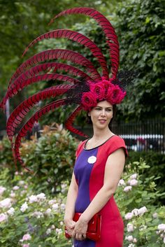 Mad Hatters: Blooming Marvellous Hats and Floral Fancies at Royal Ascot 2014 Ladies\' Day Funky Hats, Crazy Hats, Cool Hats, Red Hats, Silly Hats, Royal Ascot Hats, Hat Day, Red Hat Society, Fascinator Hats