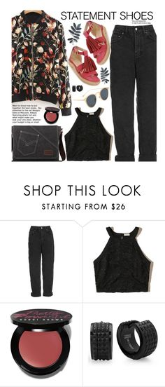 """Casual: Statement Shoes"" by beebeely-look ❤ liked on Polyvore featuring Topshop, Hollister Co., Bobbi Brown Cosmetics, casual, sammydress, bomberjackets, statementshoes and blackdenim"