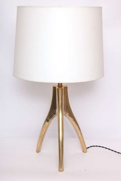 1970s Modernist Sculptural Brass Table Lamp | From a unique collection of antique and modern table lamps at https://www.1stdibs.com/furniture/lighting/table-lamps/