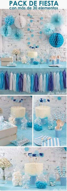 Cute Baby Blue Elephant themed Baby Shower party ideas for baby boys. Frozen Birthday Party, Baby Birthday, Birthday Parties, Party Decoration, Birthday Decorations, Baby Shower Themes, Baby Boy Shower, Deco Marine, Ideas Para Fiestas