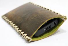 ANTIK Smartphone Handy Tasche Case aus echt Leder Leather Filz Felt von Anarkali auf DaWanda.com