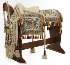 Handmade Bedouin saddle, bridle, and breastplate, circa 1960's. Jordan