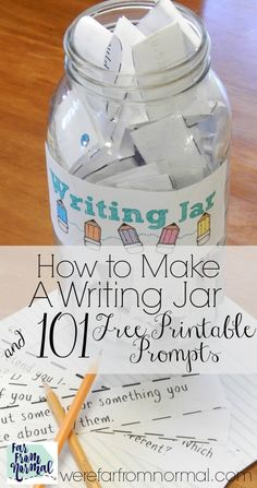 Homeschool writing - This writing jar is such a fun way to get your kids writing! These prompts are great, creative, and fun! The kids really enjoy getting to pick out of the jar! Writing Prompts For Kids, Writing Lessons, Kids Writing, Writing Resources, Teaching Writing, Writing Skills, Writing Tips, Writing Practice, Ielts Writing