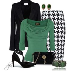 """Houndstooth and green"" by dgia on Polyvore"