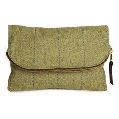 Tweed Foldover Clutch Bag Handmade Limited Edition - Araminta Campbell