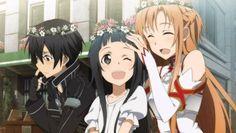 Sword art online Kirito, Yui and Asuna